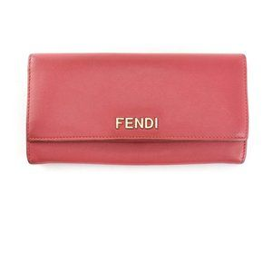 FENDI: Pink, Leather & Gold Logo Long Wallet (qm)